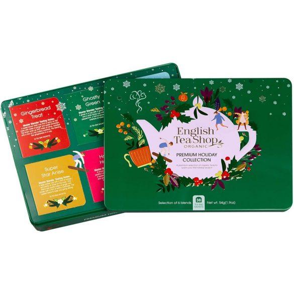 English Tea Shop 36 db-os bio ünnepi teaválogatás zöld fémdobozban