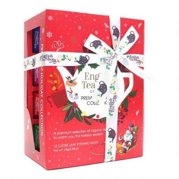 English Tea Shop 12 db-os prémium teaválogatás hóemberes piros