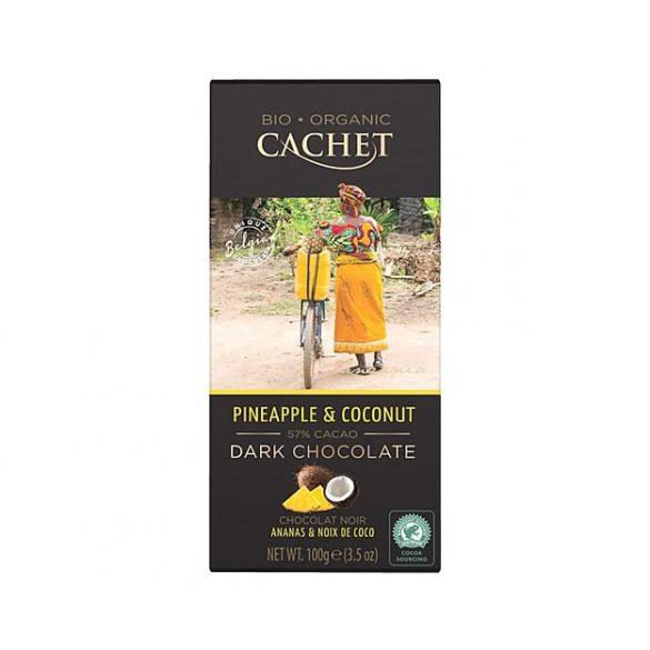 Cachet bio étcsokoládé kókusszal és ananásszal