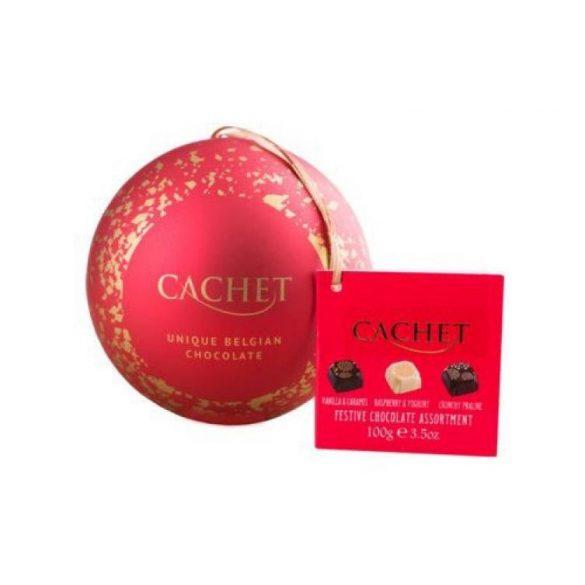 Cachet karácsonyi fém gömb csokoládé pralinékkal