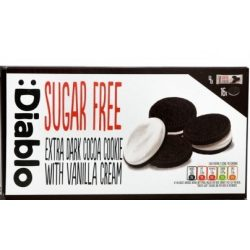 Diablo cukormentes étcsokoládés keksz vaníliás töltelékkel