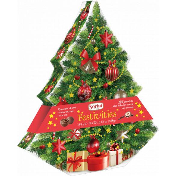 Sorini mogyorókrémmel töltött tejcsokoládék karácsonyfás papírdobozban