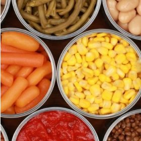 Zöldség, gyümölcs konzervek